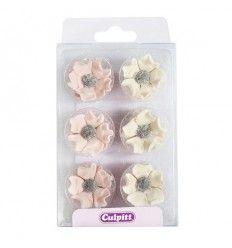 Flores anémonas rosa y marfil azúcar, 12 ud