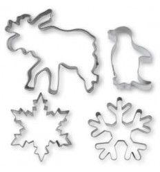 Set 4 cortadores de galletas invierno