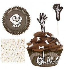 Kit cupcakes Halloween,cápsula esqueleto y huesos azúcar