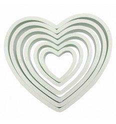 Cortadores corazones juego 6 tamaños