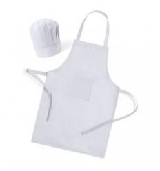 Delantal + gorro de cocinero blanco para Niño